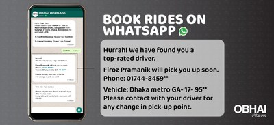 Ridesharing APP OBHAI ON WHATSAPP – A First in Bangladesh