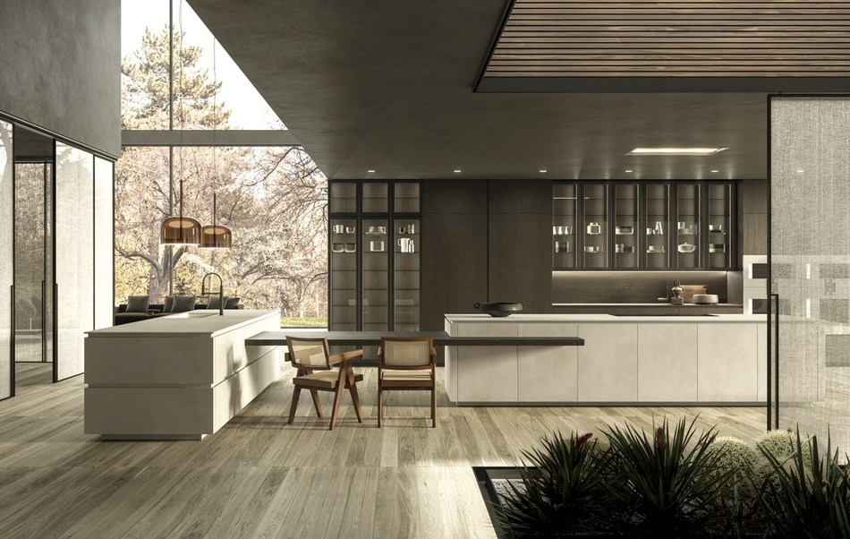 Snaidero Usa Launches Luxury Line Of Metal Framed Glass Cabinets For Modern Kitchens
