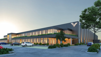Perspective du nouveau siège social et du centre de distribution de CDMV (Groupe CNW/CDMV Inc.)