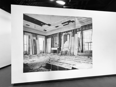 East Room, 2019-21 (Inkjet print on newsprint paper) View of the installation at Carolyn M. Wilson Gallery, University of South Florida (USF)