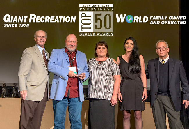 "Giant Recreation World is Awarded ""Top 50 RV Business."" And Proudly serving Florida's RV community since 1976. Giant Recreation World combines the personal service that can only be given by a family-owned and operated dealership with the experience and staying power of having served over 40,000 happy customers. Our customer's satisfaction is our number one priority."