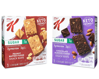 New Kellogg's Special K® Keto-Friendly Snack Bars are available in two irresistible flavors, Chocolate Almond Fudge and Peanut Butter Fudge. With 1g of sugar and 2g net carbs, the bars are a great-tasting snack choice that will help you snack up a win any time you need one.