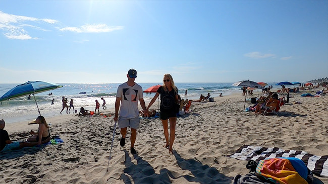 Pete Gustin and his fiancée Maggie on a beach walk in Carlsbad, CA.