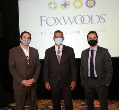 Mashantucket Pequot Tribal Nation Chairman Rodney Butler, Governor of Puerto Rico, Honorable Pedro Pierluisi, and LionGrove Founder and CEO Andro Nodarse-León, announcing plans to open Foxwoods El San Juan Casino at the Fairmont El San Juan Hotel, Puerto Rico