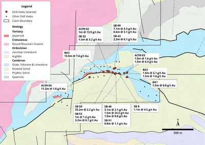 Figure 4. Antone Canyon Target Map Showing Intercepts (CNW Group/Navy Resources Corp.)