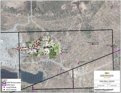 Drill hole location map (CNW Group/Granada Gold Mine Inc.)