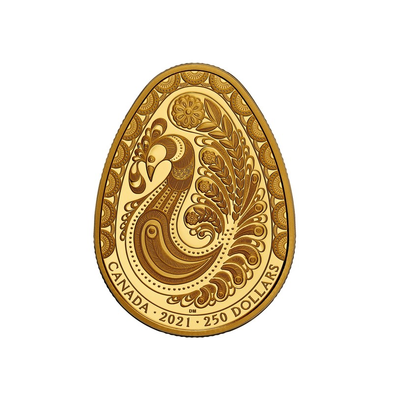 The Royal Canadian Mint's new pure gold Pysanka coin featuring a meticulously engraved design celebrating the eternal renewal of the spring season (CNW Group/Royal Canadian Mint)
