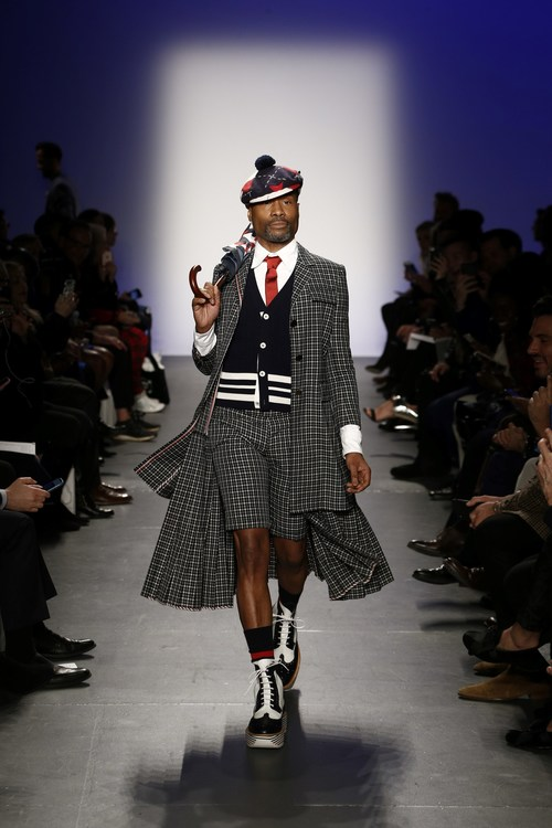 Billy Porter wearing Thom Browne at the Blue Jacket 2019 runway show during NYFW