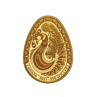Nova moeda em ouro puro Pysanka da Casa da Moeda Real Canadense (Royal Canadian Mint) com um design meticulosamente gravado celebrando a eterna renovação da primavera (CNW Group/Royal Canadian Mint)