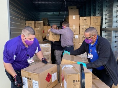From Corona, California, 18 pallets of healthcare supplies will be distributed by VITAS Healthcare's Home Medical Equipment division to its hospice professionals throughout the US. Supplies were also shipped to other locations in California, Florida, Texas and Connecticut.