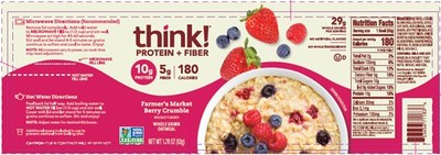 think! Protein + Fiber Oatmeal, Farmer's Market Berry Crumble label