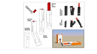 Swivel Lip and Swivel Makeup. The diagram shows how it opens. Showing the standard, mini, and cosmetic compact designs. Mosaic Development and Concept Workshop will customize the design to customers' brand.