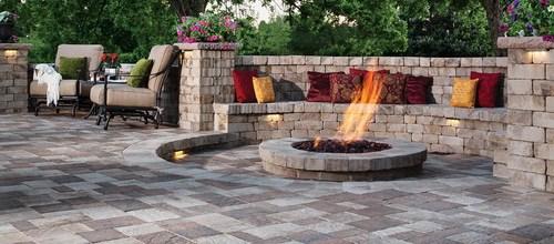 Backyard patio and fire pit