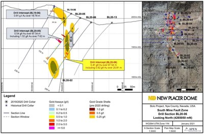 Figure 1. Bolo Gold Project BL20-06 Drill Section (CNW Group/New Placer Dome Gold Corp.)