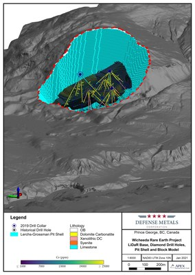 Figure 1. Wicheeda REE Deposit LiDaR Bare Earth Terrain Model Showing Diamond Drilling and Resource Block Model and Pit Shell (CNW Group/Defense Metals Corp.)
