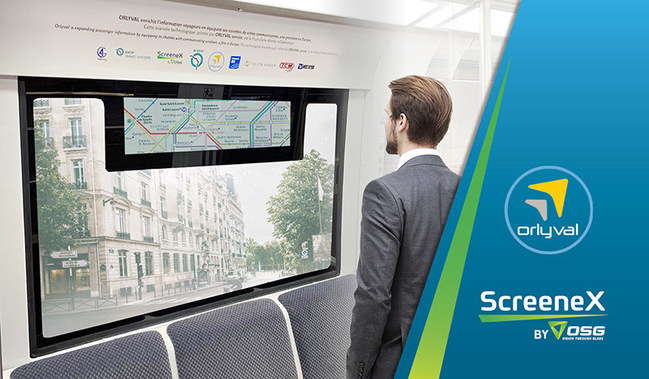 Orlyval APM shuttle service has implemented OSG's ScreeneX glass-embedded digital display for its passenger information service. With the TRN 29 integrated into the window's upper side, passengers can get the information they need without interrupting the outside view.