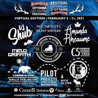 BeaverTails Ottawa Ice Dragon Boat Festival Virtual Edition Announces 2021 Lineup (CNW Group/Ottawa Ice Dragon Boat Festival)