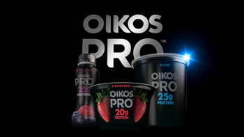 Oikos PRO drinks, single serve cups and quart size