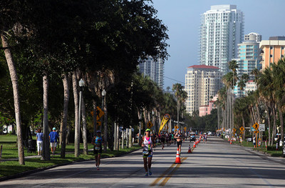 4.28.19 St. Anthony's Triathlon held its 36th annual race today in Tampa Bay off shore from St. Petersburg, Fl. North shore Dr. NE. Photo by Bill Serne. (PRNewsfoto/St. Anthony's Triathlon)