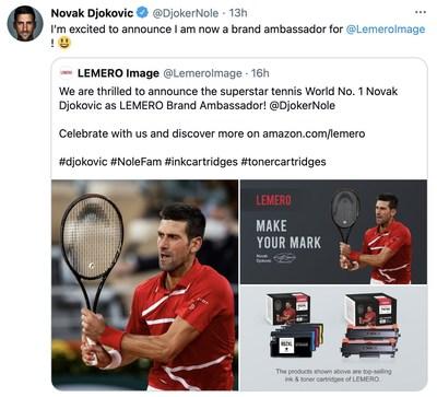 Novak Djokovic announced he has been a brand ambassador for LEMERO on Twitter. (PRNewsfoto/LEMERO)
