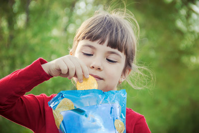 Girl with a flexible packaging
