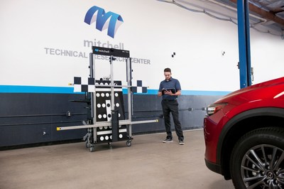 Technician prepares MD-TS21 target system for static ADAS calibration.