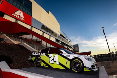 Cromax XP and ElectroLight, Axalta's 2021 Color of the Year, featured in a special paint scheme on the No. 24 Chevrolet Camaro ZL1 1LE outside Daytona International Speedway as part of the Axalta Injector Sponsorship.