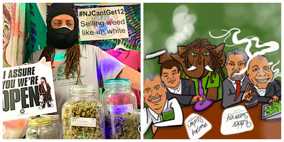 """Ed """"NJWeedman"""" Forchion is fighting for inclusion for marginalized vendors who are excluded in the cannabis legalization marketplace. Forchion champions for the underground suppliers that currently provide 90% of the marijuana consumed in his state. Second image, left to right: Governor Phil Murphy; Senator Nicholas P. Scutari; Ed """"NJWeedman"""" Forchion, the 'elephant in the room'; Scott Rudder, former Republican state legislator; and Senator Stephen M. Sweeney. Graphics by @pleaseb_thechange"""