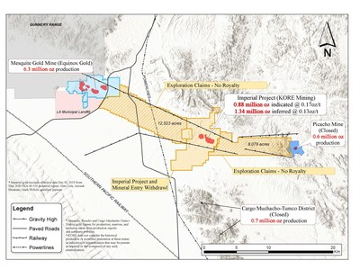 FIGURE 1: IMPERIAL GOLD PROJECT CLAIMS MAP (CNW Group/Kore Mining)