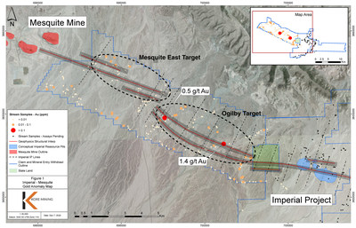 FIGURE 2: GOLD ANOMALIES WITH STRUCTURAL TARGETING (CNW Group/Kore Mining)