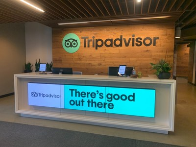 The reception area at Tripadvisor's global headquarters in Needham, Mass., where patients from Newton-Wellesley Hospital and Mass General Brigham will check-in for their vaccinations.