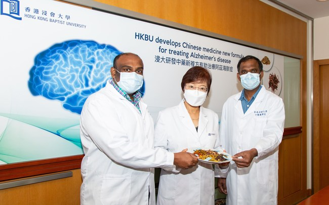 Professor Li Min, Professor of the Teaching and Research Division and Associate Dean of the School of Chinese Medicine at HKBU (middle); Dr Iyaswamy Ashok, Research Assistant Professor of the School of Chinese Medicine at HKBU (left); Dr K. Senthilkumar, Post-Doctoral Research Fellow of Mr and Mrs Ko Chi Ming Centre for Parkinson's Disease Research at HKBU (right), have developed a Chinese medicine formula named NeuroDefend that offers a potential novel treatment for Alzheimer's disease