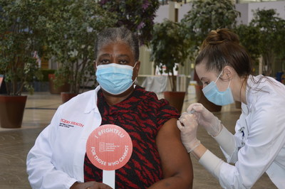 Patricia N. Whitley-Williams, MD, President of the National Foundation for Infectious Diseases (NFID) receives her flu vaccine during the 2020-2021 flu season. NFID is working to build flu and COVID-19 vaccine confidence among US Black adults.