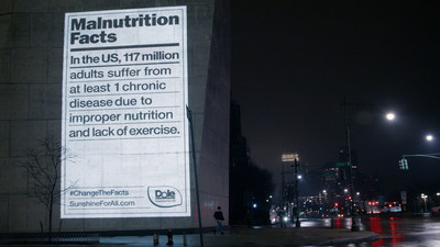 Dole's Malnutrition Labels appeared on city landmarks in New York, Los Angeles and Baltimore, raising awareness about nutrition inequalities.