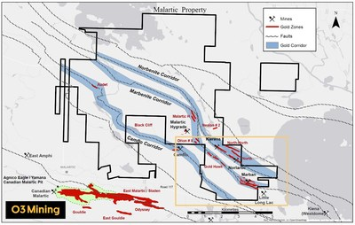 Figure 1: Carte de forage de la propriété Malartic (Groupe CNW/O3 Mining Inc.)
