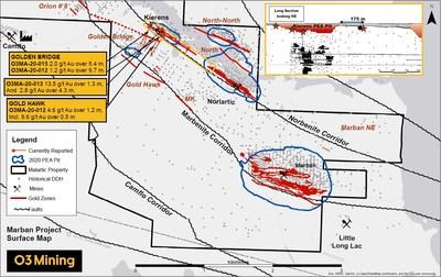 Figure 2: Carte de forage du projet Marban (Groupe CNW/O3 Mining Inc.)