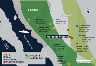 Figure 1: Location of the Margarita Project (CNW Group/Magna Gold Corp.)