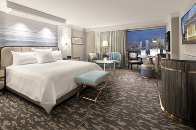Las Vegas (February 4, 2021) – Bellagio in Las Vegas unveils new guest room designs as resort begins remodel slated for summer completion. Shown here: Premier King Room.