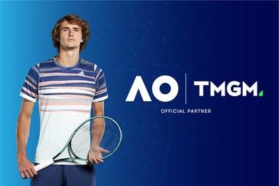 A TMGM patrocina renomada estrela de tênis, Alexander Zverev, para o Australian Open. Crédito da foto: ATP and Getty Images. (PRNewsfoto/TMGM)