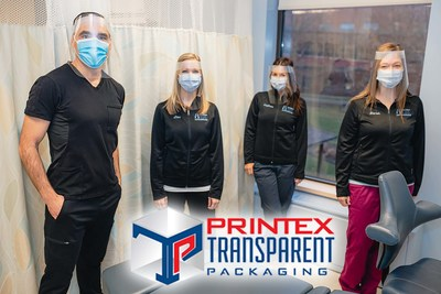The Ultrasound team at Hamilton Health Sciences' Hamilton General Hospital developed an extended face shield in partnership with the McMaster Manufacturing and Research Institute and Printex Transparent Packaging for better protection against COVID-19. Left to right: Dr. Michael Colapinto, Radiologist Lead for Ultrasound, and ultrasound technologists Lisa Billone, Kaylana Parente, and Sarah Allred. (CNW Group/Printex Transparent Packaging)