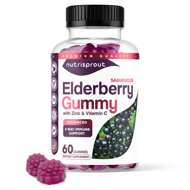 The Nurtrisprout natural immune booster Sambucus Elderberry Gummy with Zinc and Vitamin C Supplement