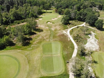 An aerial view of the 7th hole at the Gil Hanse-designed New Course - which is scheduled to open this summer - at Les Bordes Golf Club in Loire Valley, France.