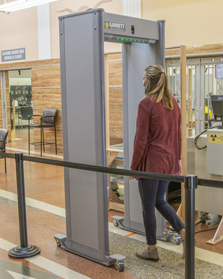 Integration of SmartScan into Garrett walk-through metal detectors allows allows body temperature measurements to be taken during normal security screening.
