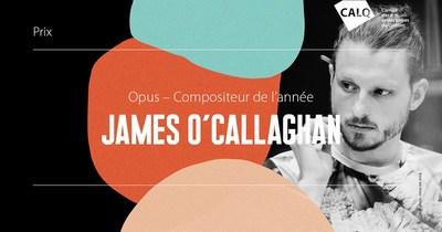Le CALQ remet 10 000$ au lauréat du prix Opus du Compositeur de l'année à James O'Callaghan. photo : Anna Van Kooij (Groupe CNW/Conseil des arts et des lettres du Québec)