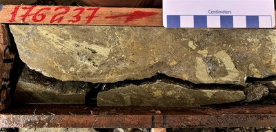 Drill core from CURI-349 - 13.61% copper equivalent over 16.96 metres (CNW Group/Adventus Mining Corporation)