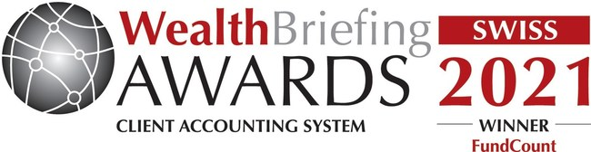 """FundCount earned top honors as """"Best Client Accounting System"""" at the 2021 WealthBriefing Swiss Awards."""