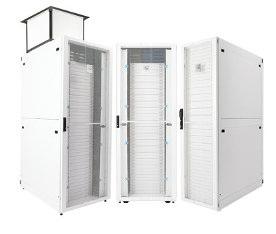 The ZetaFrame™ Cabinet from Chatsworth Products is a total, turnkey solution that integrates with power, cable and thermal management accessories to support next-generation compute. (PRNewsfoto/Chatsworth Products)
