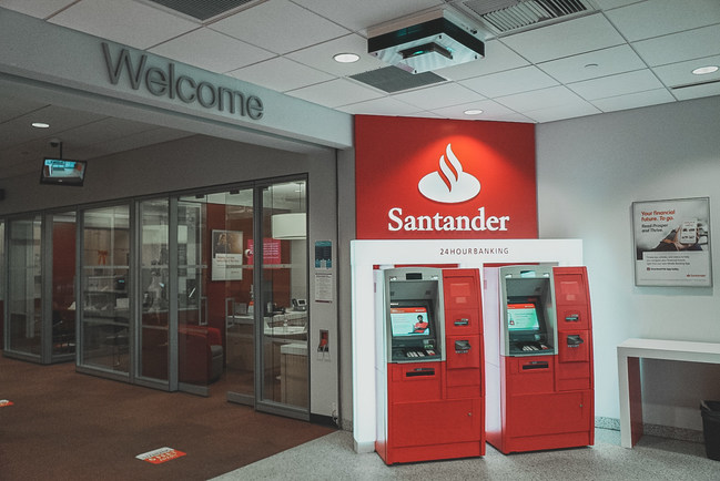 Aerapy upper air UV unit, the Zone360, installed near an ATM at Santander Bank.