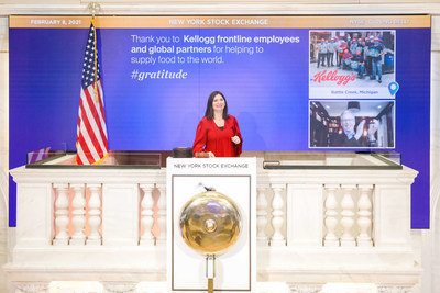 Kellogg Company (NYSE: K) Chairman and CEO Steve Cahillane participated in today's virtual closing bell ceremony with the New York Stock Exchange (NYSE) as part of its Gratitude Campaign to honor essential employees working throughout the COVID-19 pandemic.