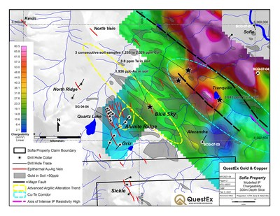 Figure 2. Gold exploration targets on QuestEx's 100% owned Sofia property in the prolific Toodoggone mining district. (CNW Group/QuestEx Gold & Copper Ltd.)